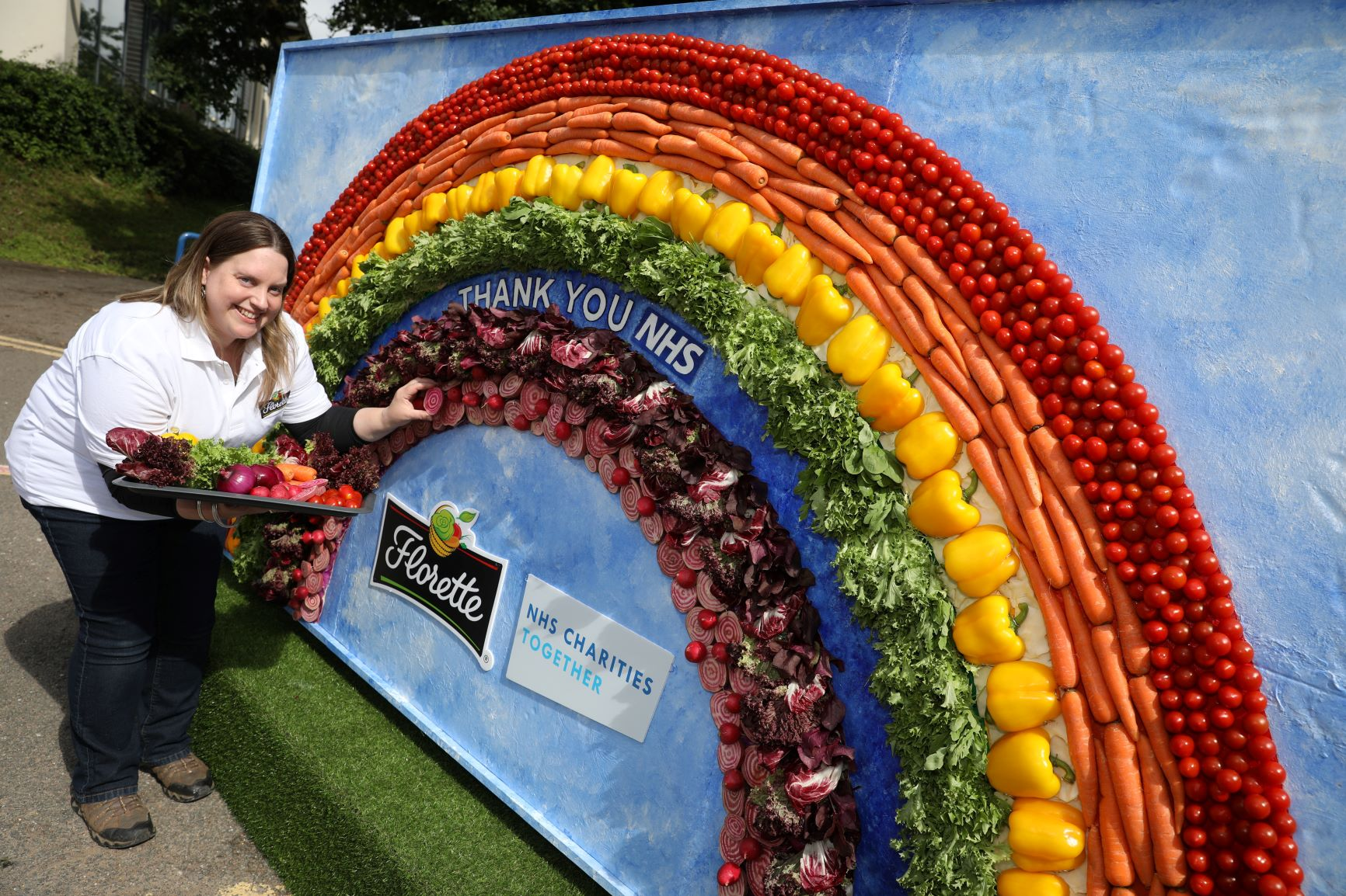 Prudence Statie was commissioned by Florette to create the two metre tall rainbow made of 1208 salad ingredients to mark NHS Frontline Day resized