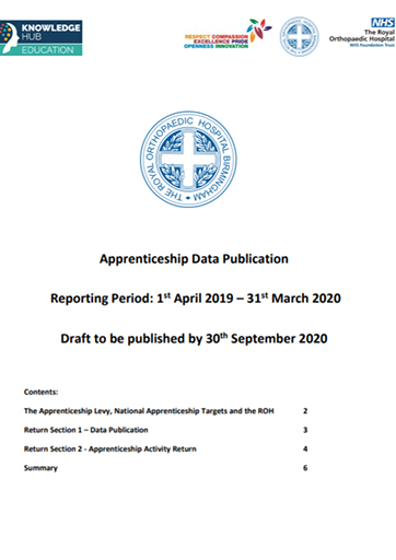 ROH Apprenticeship Data Publication Reporting Period: 1 st April 2019 – 31st March 2020