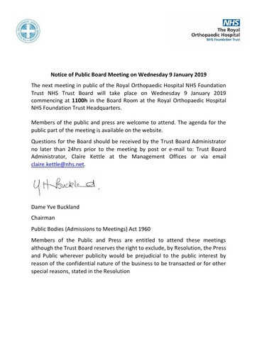 Notice of Public Board Meeting on Wednesday 9 January 2019