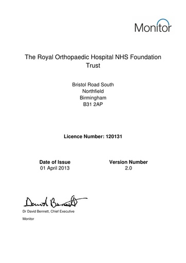 The Royal Orthopaedic Hospital NHS Foundation Trust Monitor Licence