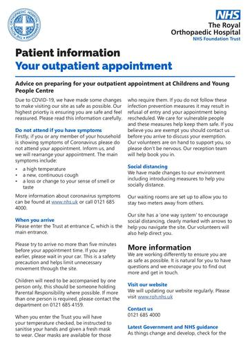 CYPC Outpatient appointment