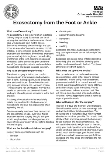 Exosectomy from the Foot or Ankle