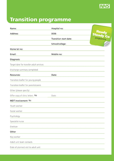 Ready Steady Go Transition plan editable form