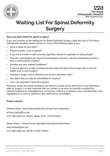 Waiting list for spinal surgery
