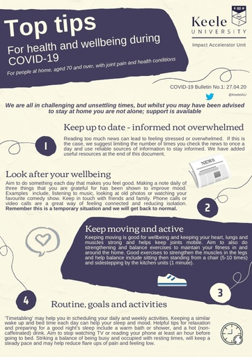 Top tips for health and wellbeing during COVID 19