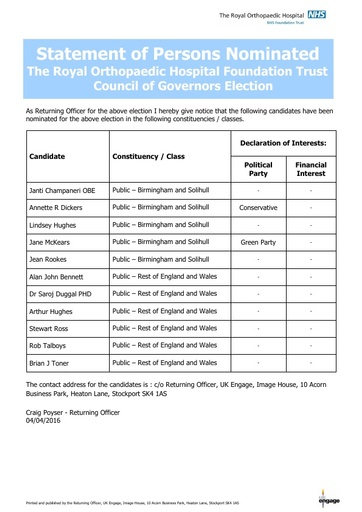 Statement of Persons Nominated - Council of Governors Election 2016