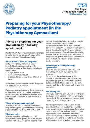 Physio or Podiatry appointment in the Gym