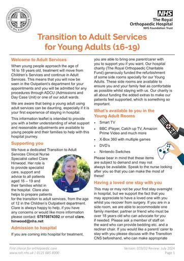 Transition to Adult Services (aged 16 - 18)