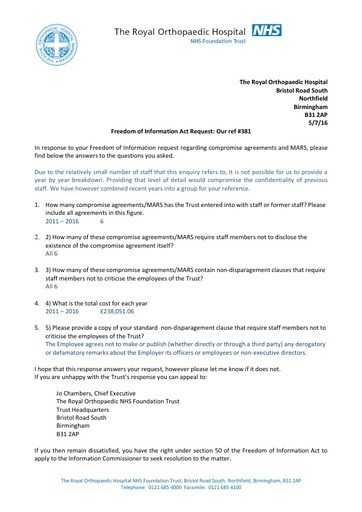 FOI#381 05 07 16    Compromise agreements