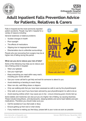 Adult Inpatient Falls Advice
