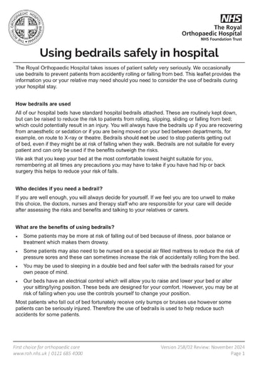 Using bedrails safely in hospital