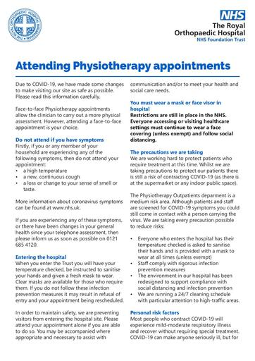 Attending Physiotherapy appointments