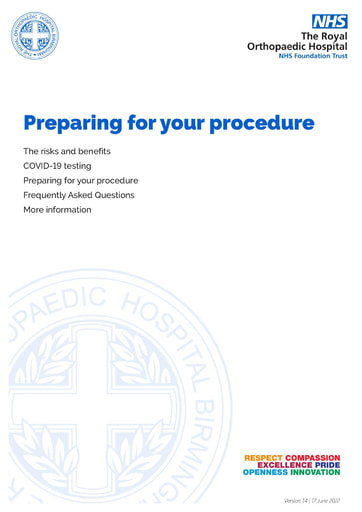 Preparing for surgery - for patients living within 20 miles