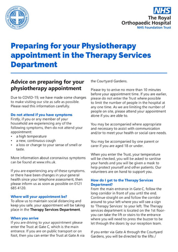 Physiotherapy in the Physiotherapy Outpatients Department