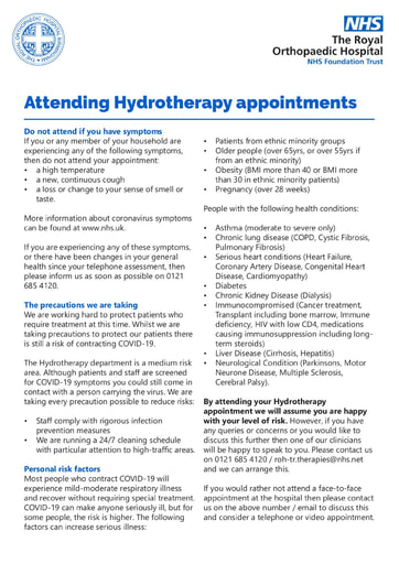 Hydrotherapy appointment
