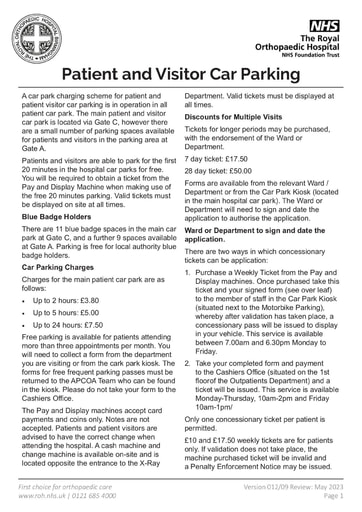 Patient and Visitor Car Parking