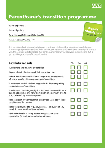 Ready Steady Go parent plan editable form