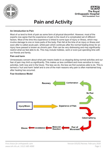 Pain and Activity