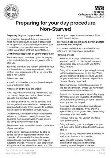 Preparing For Your Day Procedure Non Starved