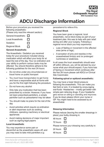 ADCU Discharge Anaesthetic