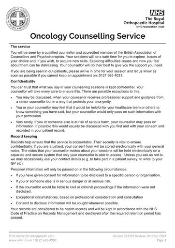 Oncology Counselling Service