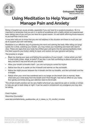 Using Meditation to Help Manage Pain and Anxiety
