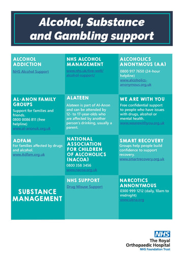 Alcohol, Substance and gambling support