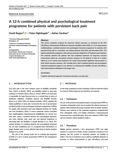 Combined physical and psychological treatment for back pain a long term follow up