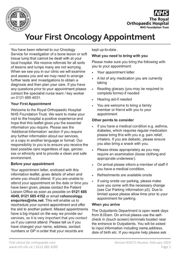 Your First Oncology Appointment