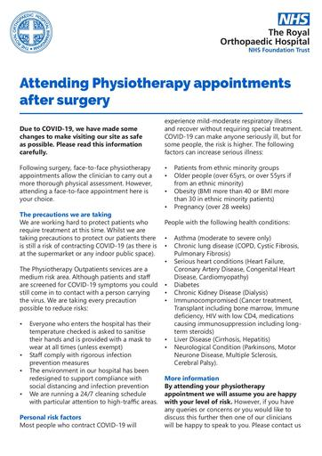 Physiotherapy appointments after surgery