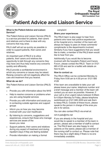 Patient Advice and Liasion Service
