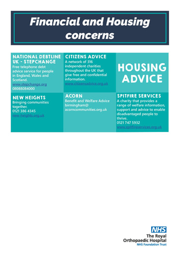 Financial and housing concerns