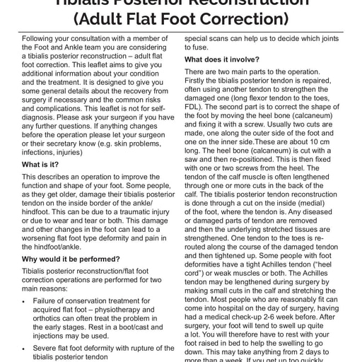 Tibialis Posterior Reconstruction (Adult Flat Foot Correction)