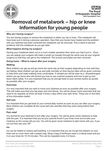 Removal of Metal work hip knee | information for young people