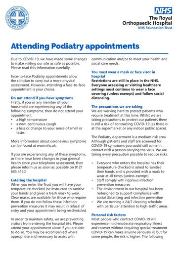 Attending Podiatry appointments