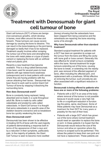 Treatment with Denosumab for giant cell tumour of bone