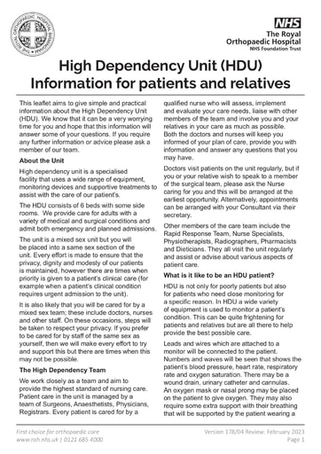 HDU Information for Patients and Relatives