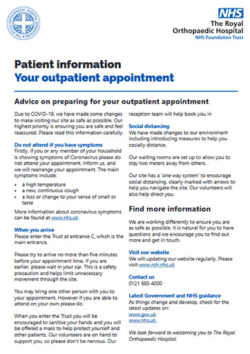 Outpatient appointments