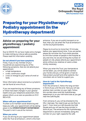 Physiotherapy Podiatry appointment COVID19